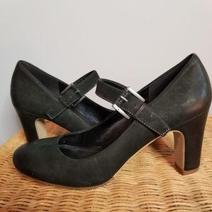 ECCO Mary Jane Heel Pumps Black Suede Size 39 / 9